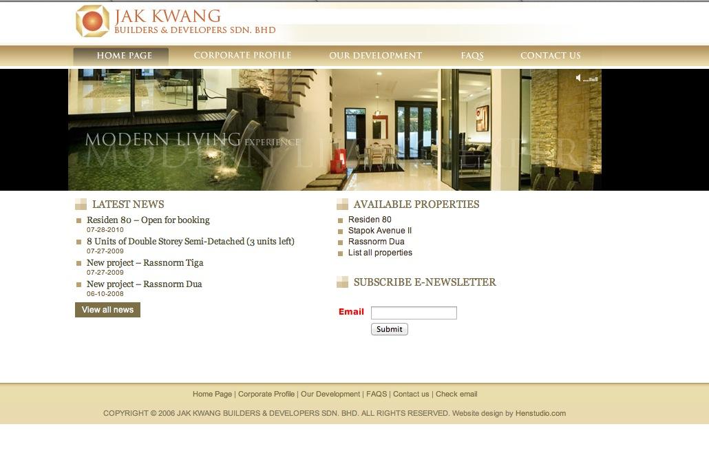 Jak Kwang Builder and Developer Website design