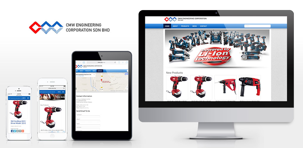 CMW Engineering Corporation Sdn Bhd product catalog website design and setup
