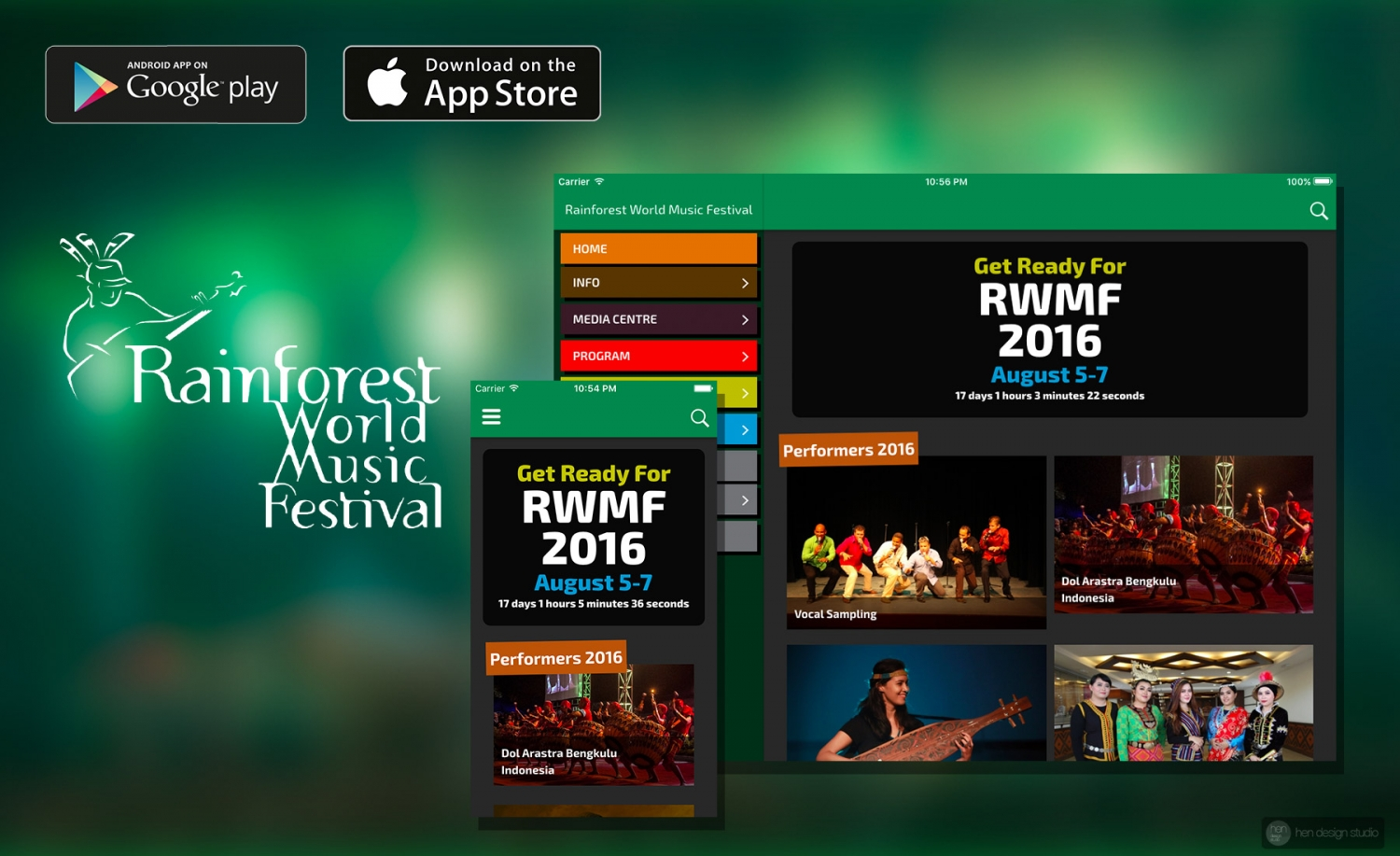 Rainforest Festival Guide – RWMF Official iOS/Androids App design and development (2016-2019)