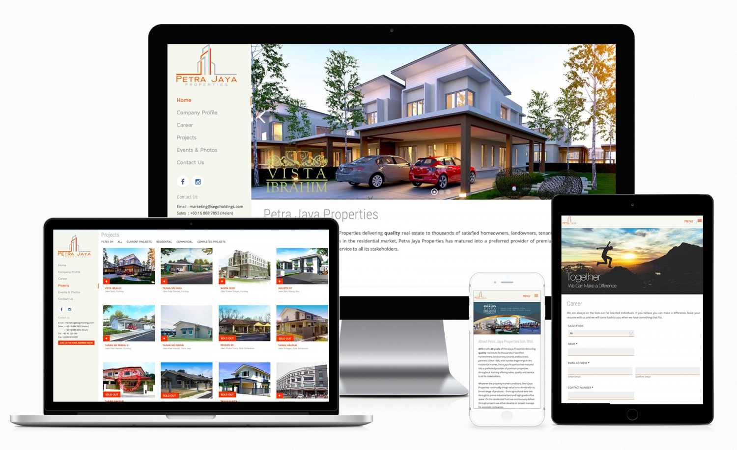Petra Jaya Properties website design and development