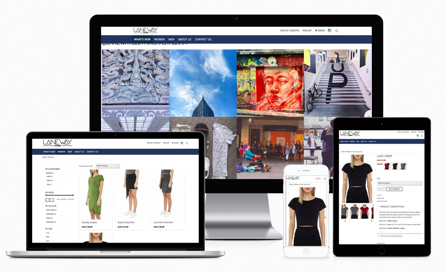 Laneway Clothing Company e-commerce website design and setup