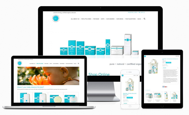 Miniorganics – skincare product e-commerce website design and setup