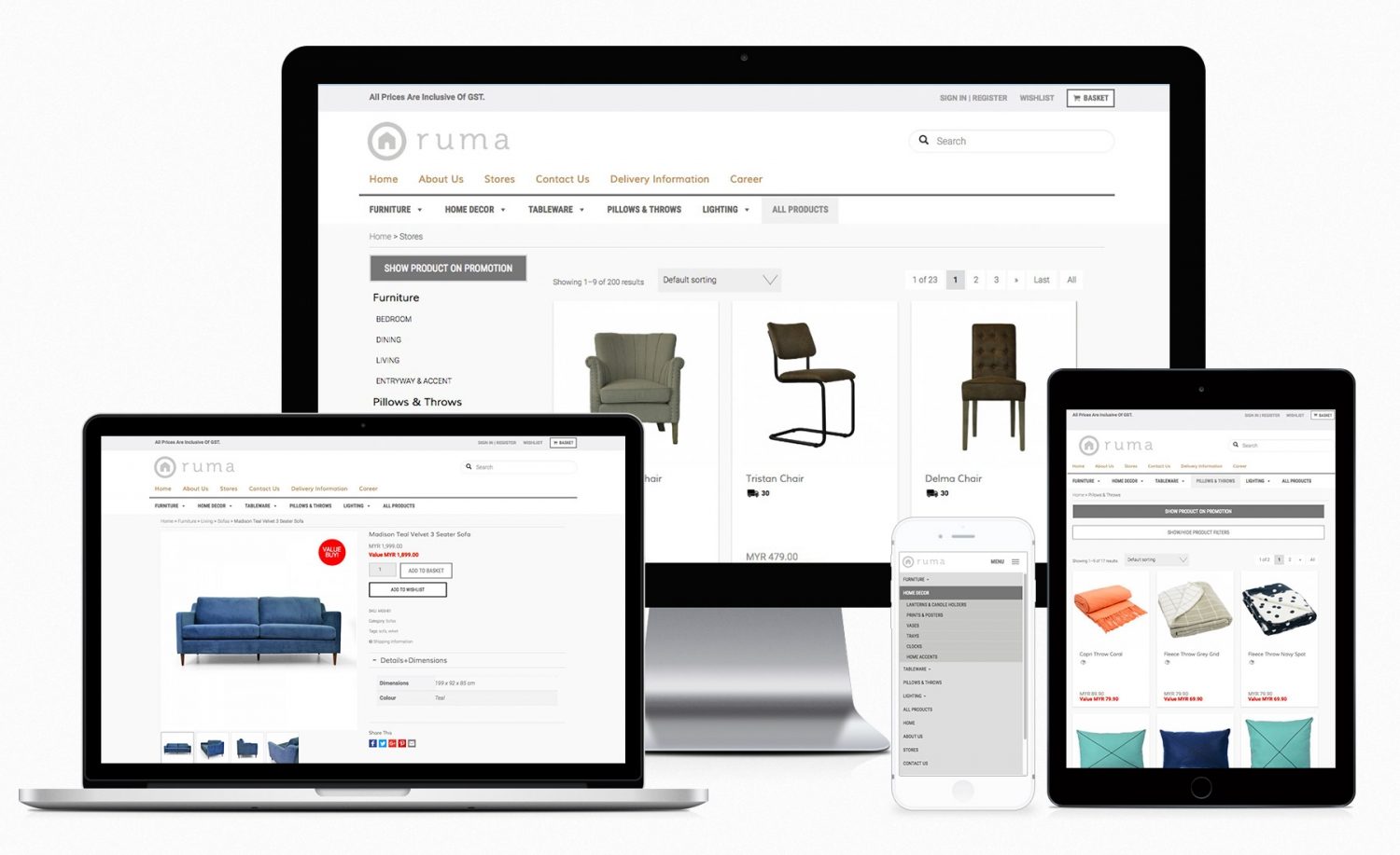 Ruma Home e-commerce website design and setup