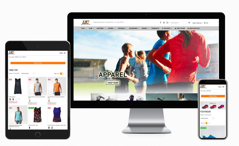 LSConline by Lea Sport Centre online shopping platform website design and built