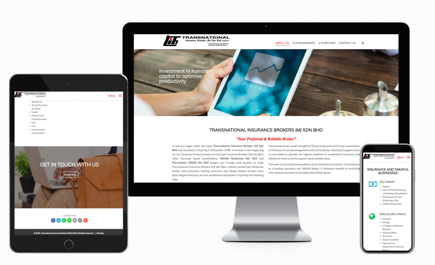 Transnational Insurance Brokers (M) Sdn Bhd website design and built