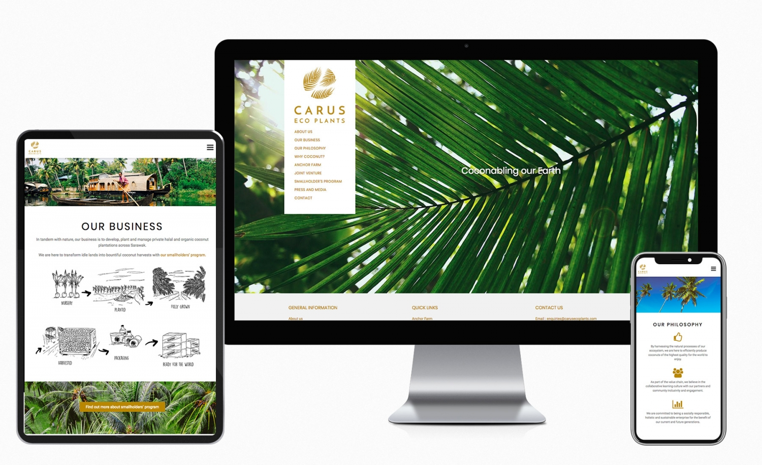 Carus Eco Plants corporate website design and setup
