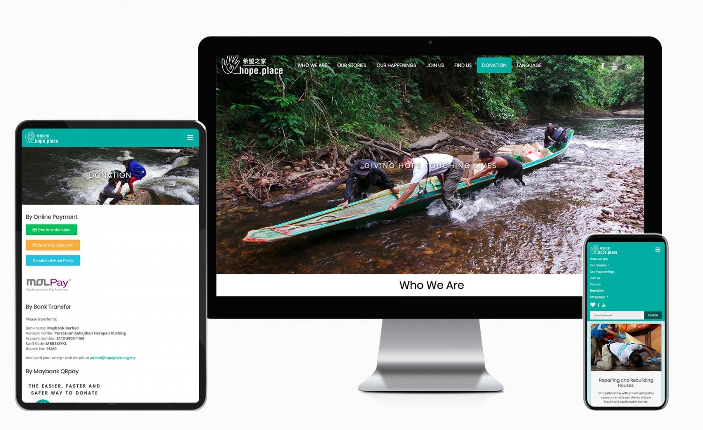 Hope Place non-governmental organization Website Design