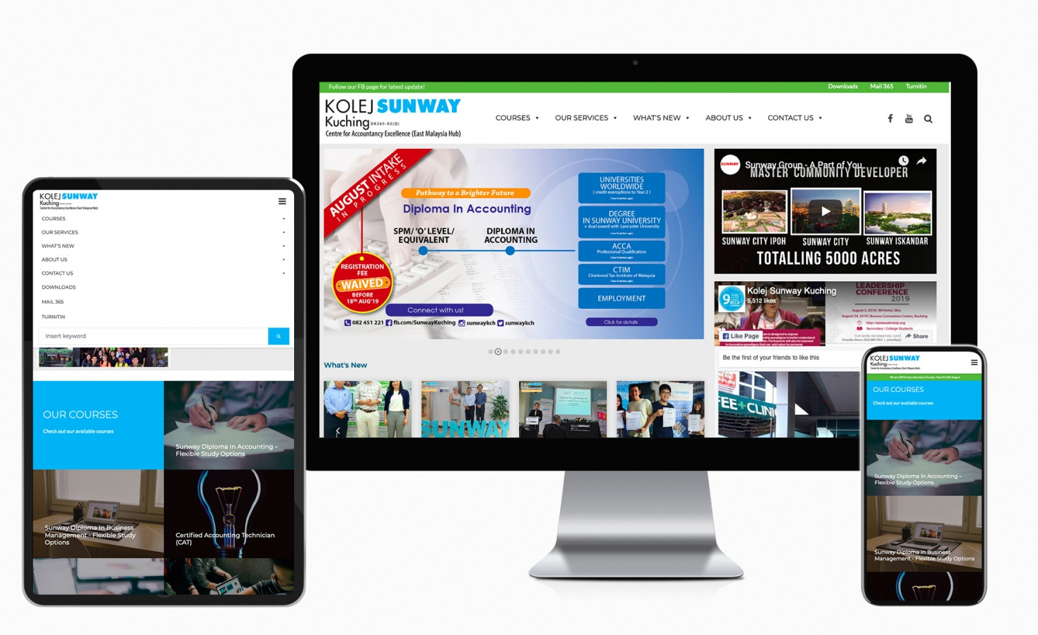 Kolej Sunway Kuching website redesign and improvement.